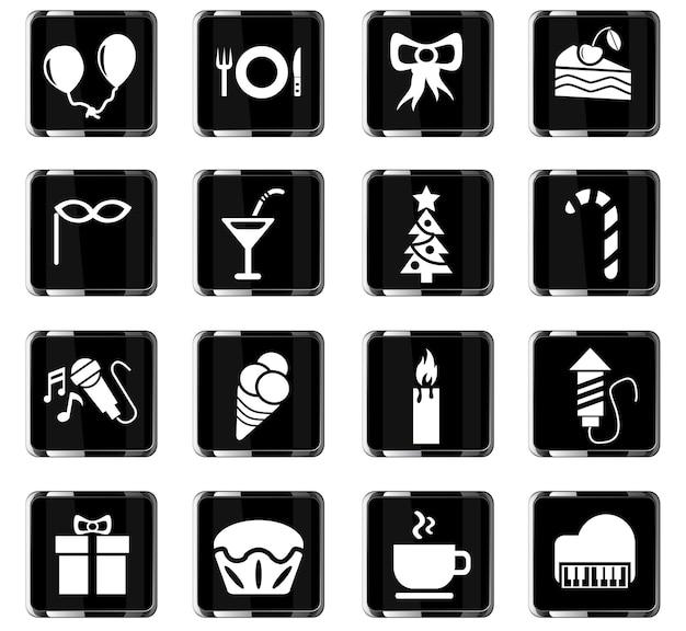 Vieringswebpictogrammen voor gebruikersinterfaceontwerp