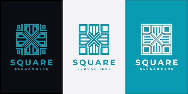 Vierkant abstracte lijn logo ontwerp inspiratie. lijn vierkant logo ontwerpconcept