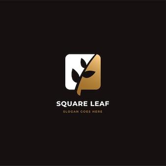 Vierkant blad natuur logo concept