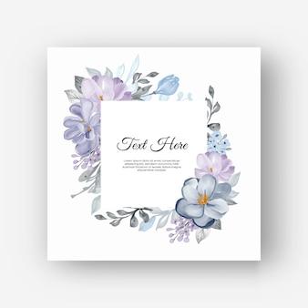 Vierkant bloemenframe met lila bloemen