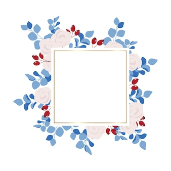 Vierkant bloemenframe met witte rozen, rozenbottel en eucalyptus