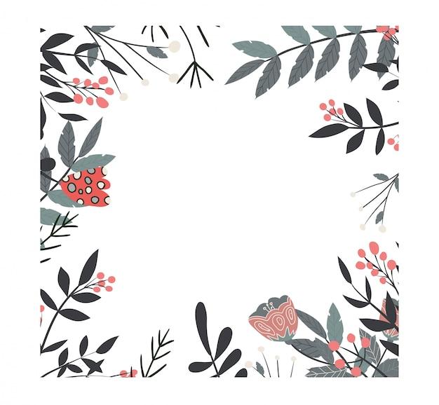 Vierkant bloemenkader met takjes en bloemen