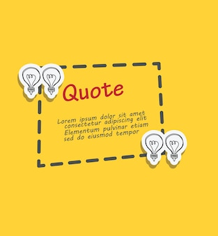 Vierkant citaat tekstballon met stippellijn en lamp doodle