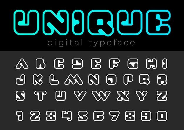 Vierkant digitaal lettertype.