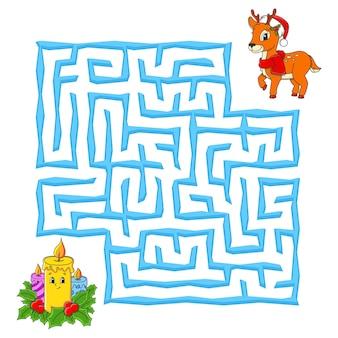 Vierkant doolhof kerstspel voor kinderen winterpuzzel voor kinderen