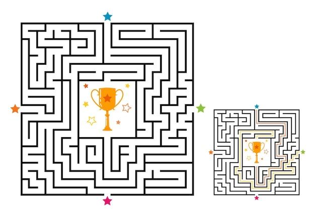 Vierkant doolhof labyrint spel voor kinderen. labyrint logica raadsel met winnaar beker.