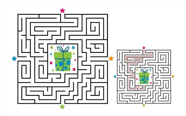 Vierkant doolhof labyrint spel voor kinderen. labyrint logica raadsel.
