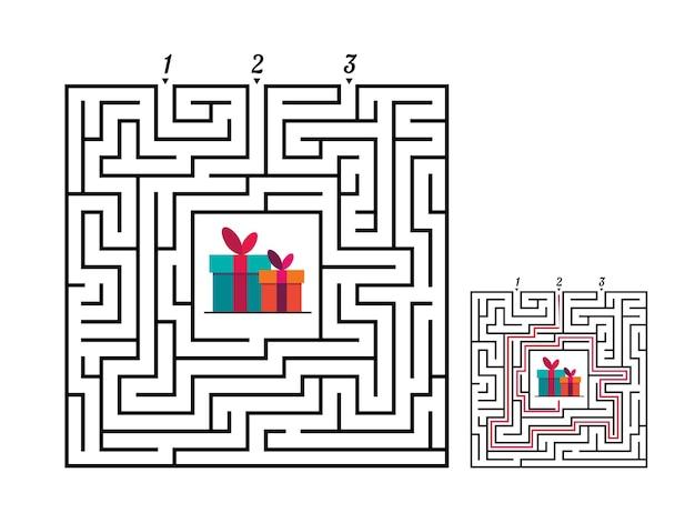 Vierkant doolhof labyrint spel voor kinderen labyrint logisch raadsel drie entr en één juiste manier om te gaan