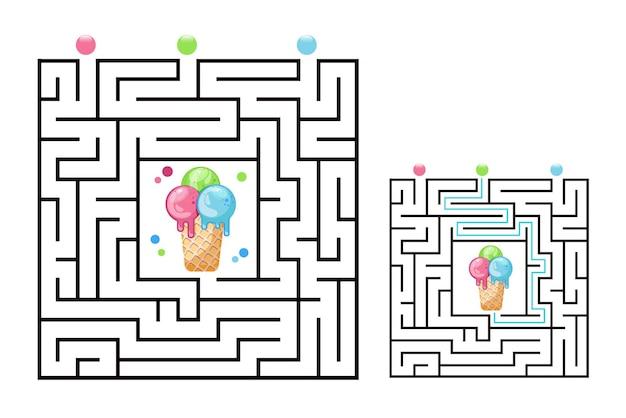 Vierkant doolhof labyrint spel voor kinderen met ijs. labyrint logica raadsel. drie ingangen en één goede weg te gaan.