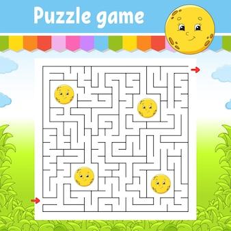 Vierkant doolhof. leuke maan. spel voor kinderen. puzzel voor kinderen. labyrint raadsel. vind de juiste weg. stripfiguur.
