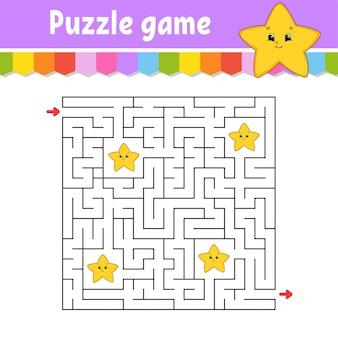 Vierkant doolhof. spel voor kinderen. cartoon ster. puzzel voor kinderen. labyrint raadsel. vind de juiste weg. stripfiguur.