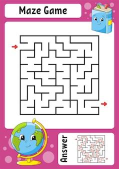 Vierkant doolhof. spel voor kinderen. grappig labyrint. onderwijs ontwikkelen werkblad. activiteitspagina. puzzel voor kinderen.