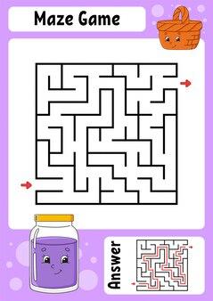 Vierkant doolhof. spel voor kinderen. grappig labyrint. onderwijs ontwikkelt werkblad. activiteitspagina. puzzel voor kinderen.