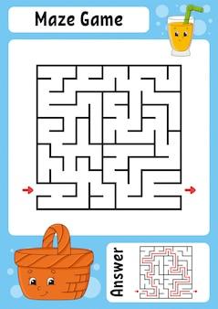 Vierkant doolhof. spel voor kinderen. grappig labyrint. onderwijs ontwikkelt werkblad.