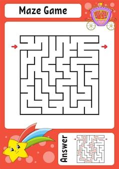 Vierkant doolhof spel voor kinderen grappig labyrint