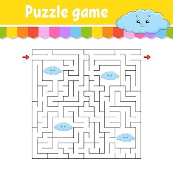 Vierkant doolhof. spel voor kinderen. grappige wolk. puzzel voor kinderen. labyrint raadsel. vind de juiste weg. stripfiguur.