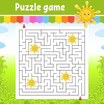 Vierkant doolhof. spel voor kinderen. leuke zon. puzzel voor kinderen. labyrint raadsel. vind de juiste weg. stripfiguur.