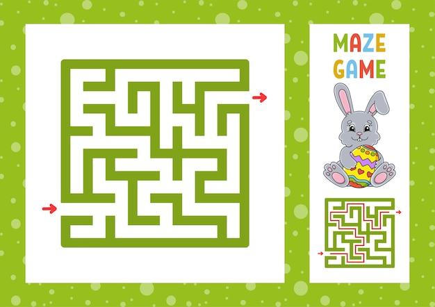 Vierkant doolhof. spel voor kinderen. puzzel voor kinderen. gelukkig karakter.