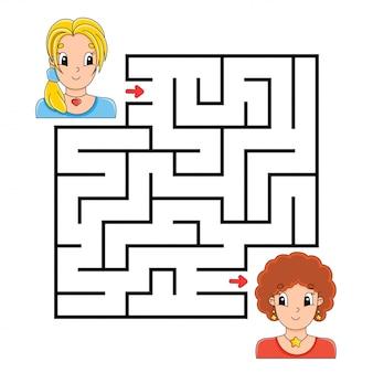 Vierkant doolhof. spel voor kinderen. puzzel voor kinderen. labyrinth raadsel.