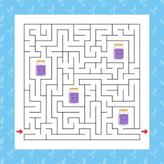 Vierkant doolhof. spel voor kinderen. puzzel voor kinderen.