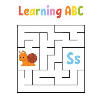 Vierkant doolhof. spel voor kinderen. viervoudig labyrint. onderwijs werkblad. slak weekdier.