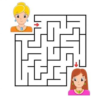 Vierkant doolhof. spel voor kinderen.