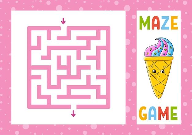 Vierkant doolhofspel voor kinderen