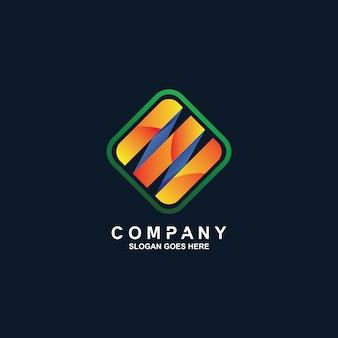 Vierkant en strepen logo