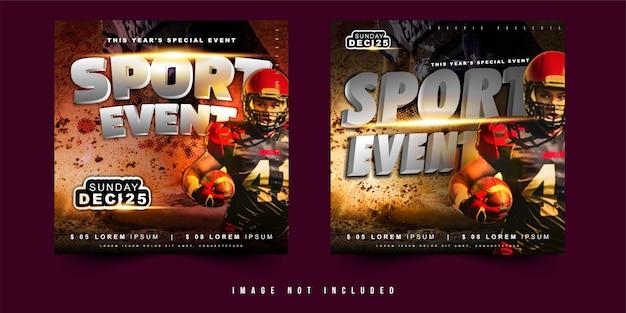 Vierkant flyer of banner ontwerp vector sportevenement voetbal voetbal met eenvoudige lay-out