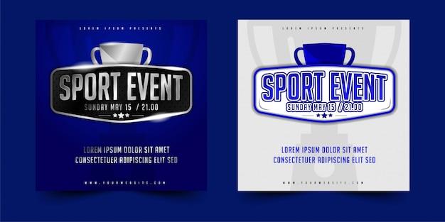 Vierkant flyer, poster of banner ontwerp vector sportevenement met eenvoudige lay-out elegant