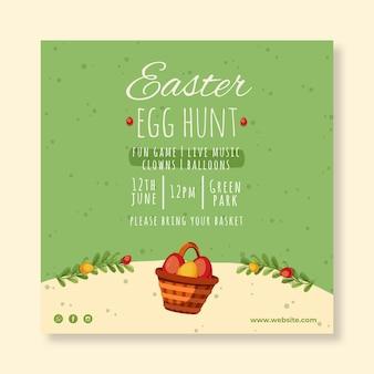 Vierkant flyer-sjabloon voor pasen met eieren zoeken