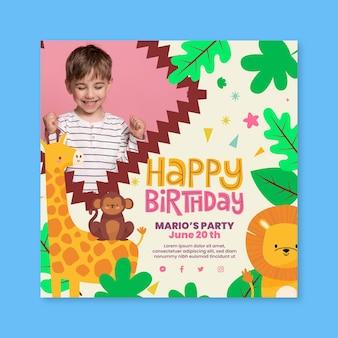 Vierkant flyer voor kinderverjaardag met dieren