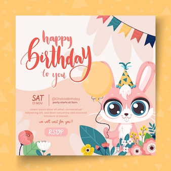 Vierkant flyer voor kinderverjaardag