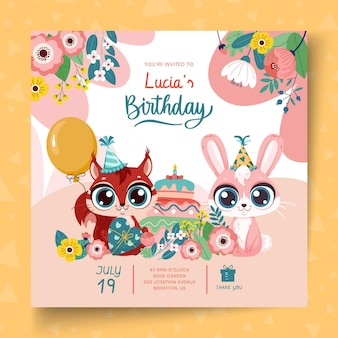 Vierkant flyersjabloon voor kinderverjaardag