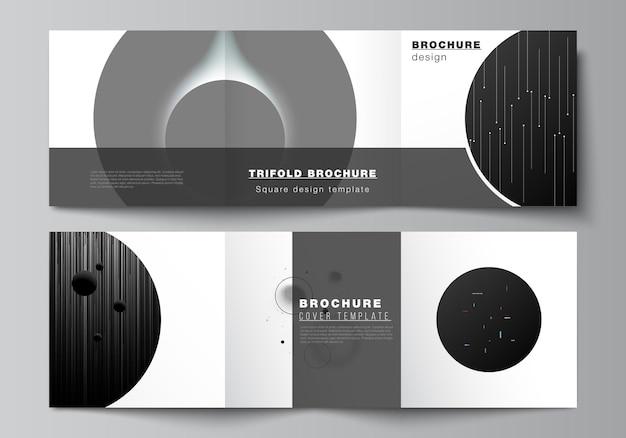 Vierkant formaat omvat ontwerpsjablonen voor driebladige brochure flyer tijdschriftomslag