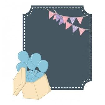 Vierkant frame en ronde ballonnen