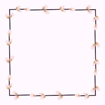 Vierkant frame gemaakt van wilgentakjes.paaskrans gemaakt van wilgenstengels.
