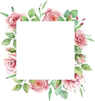 Vierkant frame met aquarel handgeschilderde rozen en bladeren.