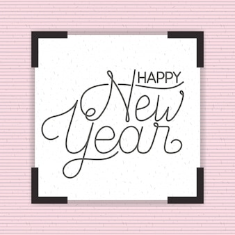 Vierkant frame met gelukkig nieuwjaar belettering