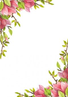 Vierkant frame van aquarel bloemen