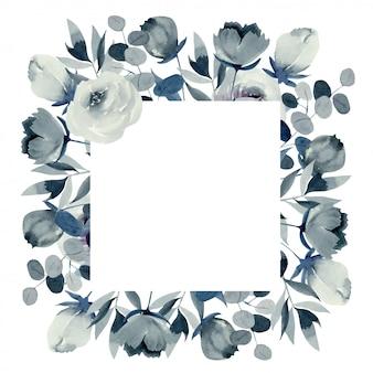 Vierkant frame van aquarel indigo rozen en planten, hand getrokken