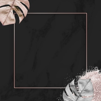 Vierkant gouden frame met metalen monstera blad achtergrond vector