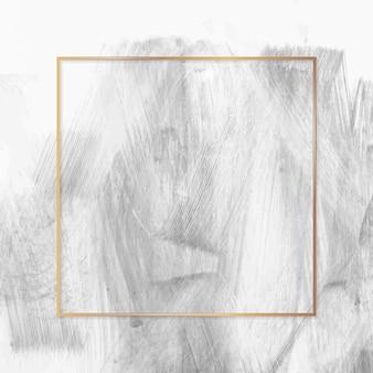 Vierkant gouden frame op verf getextureerde achtergrond vector