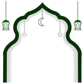 Vierkant groen element ontwerp of sjabloon voor ramadan kareem wenskaart banner flyer en poster