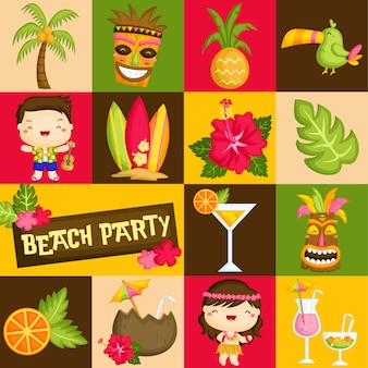 Vierkant hawaii luau vector samenstelling