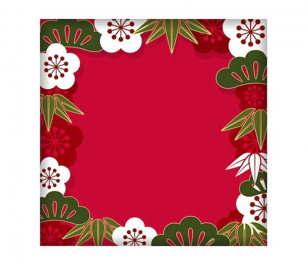 Vierkant kader / achtergrond met traditioneel japans patroon voor de kaart van het nieuwjaar, vector il