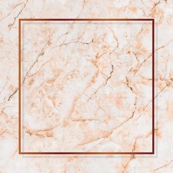 Vierkant koperen frame op oranje marmeren achtergrond vector