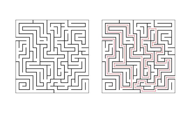 Vierkant labyrint doolhofspel voor kinderen logica onderwijs vind de juiste manier
