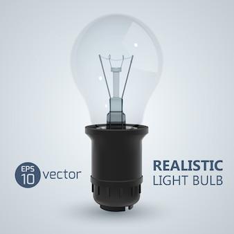 Vierkant met realistische afbeelding van gloeilamp geschroefd in een lamp op heldere illustratie