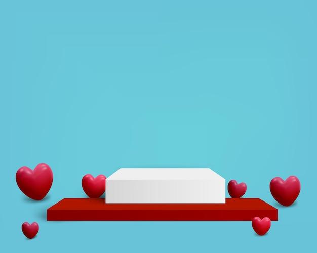 Vierkant podium met hart voor valentijn